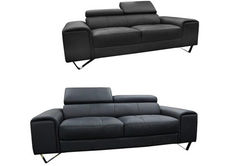 BELLAGIO  3 SEATER  + 2 SEATER LEATHER  LOUNGE SUITE    - BLACK