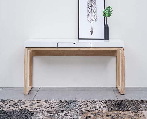 AJAX CONSOLE HALLWAY TABLE - 1520(W)  - NATURAL /  HIGH GLOSS WHITE