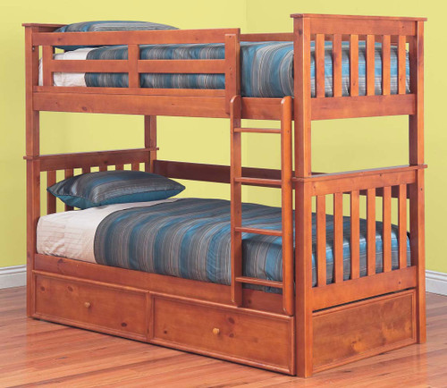 SINGLE AWESOME (MODEL 6-15-18-20-5) BUNK BED - INCLUDING RANCH SINGLE MATCHING STORAGE TRUNDLE BED - TEAK