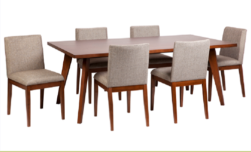 CLARA 7 PIECE DINING  SETTING WITH 2000(L) X 1000(W) TABLE   - WALNUT+BEIGE