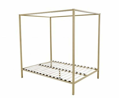 QUEEN  4 POSTER METAL BED ( V63-819533) -   GOLD