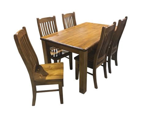 VT 7 PIECE DINING SETTING WITH 1500(L) X 900(W) - GREYWASH , WALNUT , BALTIC