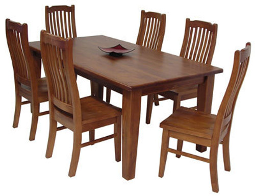 VERITY (VT) 7 PIECE DINING SETTING WITH NON-TAPERED SQUARE LEGS - 1800(W) X 1050(D) - GREYWASH , WALNUT , BALTIC