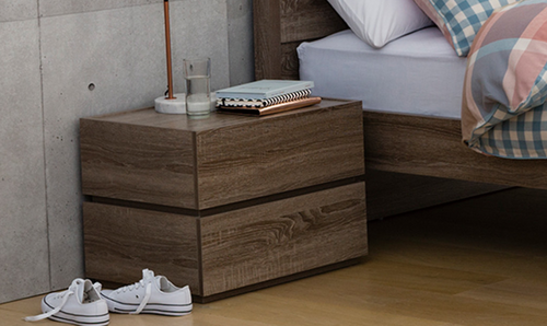 CUBIST 2 DRAWERS STACK OVER   BEDSIDE TABLE (MODEL:LS-118) - MOCHA