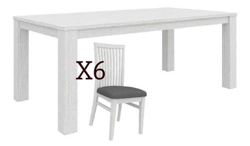 MILDRED 7 PIECE DINING SETTING  (6-12-15-9-14-1) - 1900(L) x 1000(W) - WHITEWASH