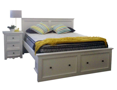 ANZAC  QUEEN 3 PIECE BEDSIDE BEDROOM SUITE - WHITE