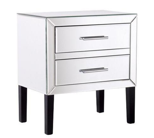 DREAMO TWO  DRAWER MIRRORED BEDSIDE   - 550(H) X 550(W) - (MODEL:181010) -