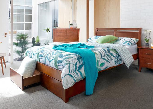 QUEEN SAVANNA  BED WITH 2 X BED END DRAWERS -  (MODEL 5-12-12-1)  - WALNUT (PICTURED) OR WALNUT