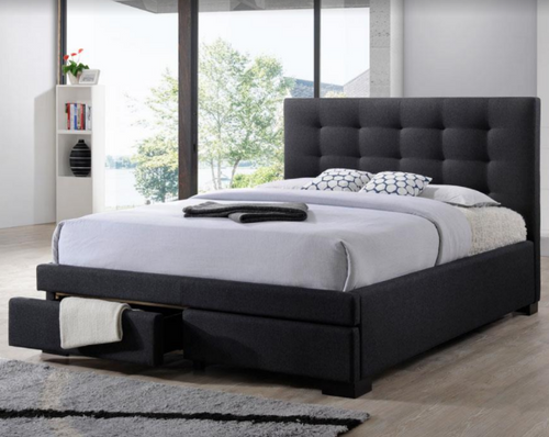 DOUBLE  BRONTE FABRIC  BED WITH 2 DRAWERS  - DARK GREY