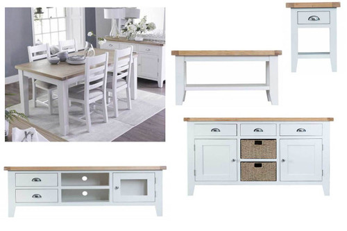 ARBETTA 11 PIECE LIVING & DINING PACKAGE - TWO TONE