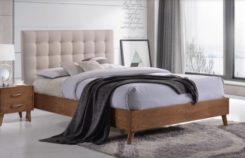 DOUBLE  AMINA TIMBER - FABRIC BED - (14-15-15-19-1)  - TWO TONE