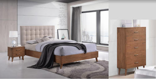 AMINA  DOUBLE OR QUEEN  4 PIECE TALLBOY  BEDROOM SUITE -- (14-15-15-19-1)  - TWO TONE
