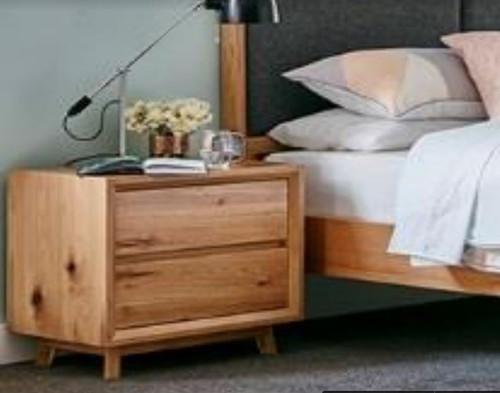 BOSTON   DRAWER  BEDSIDE TABLE  - WHITE OAK / VENEER