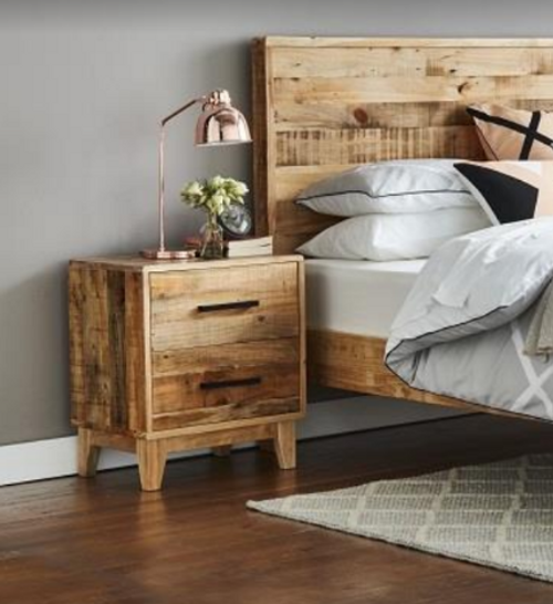 CRONULLA 2 DRAWER BEDSIDE TABLE -  RUSTIC PINE
