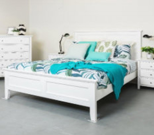 DOUBLE  BALLINA PANEL BED - WHITE