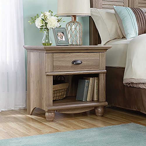 HARBOR BEDSIDE TABLE / NIGHTSTAND WITH ONE DRAWER   - SALT OAK FINISH
