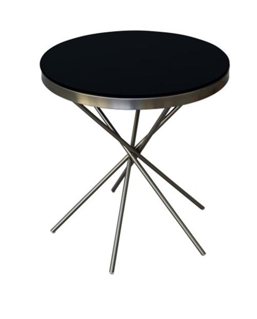 SASCHA ROUND SIDE TABLE - NICKEL / BLACK