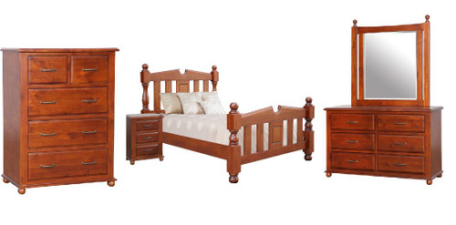 FEDERATION   KING 6 PIECE (THE LOT) BEDROOM SUITE  - LIGHT MAHOGANY