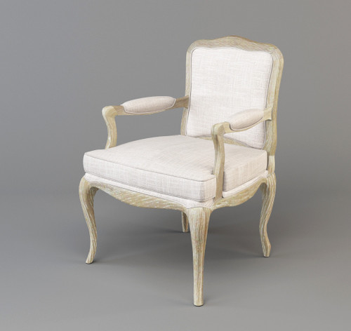 FABIAN HARDWOOD  OCCASIONAL CHAIR  FABRIC UPHOLSTERY-  OFF WHITE