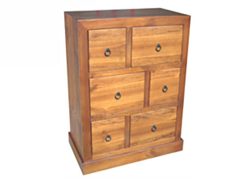 BONO TALLBOY WITH 6 DRAWERS -1200(H) X 900(W) - ASSORTED COLOURS AVAILABLE