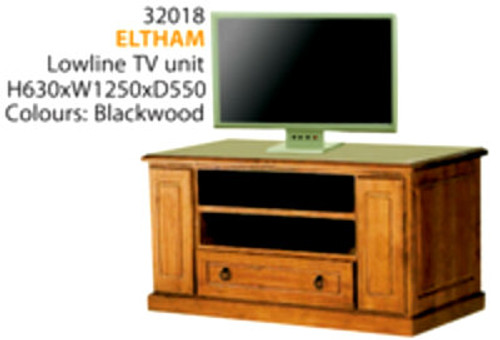 ELTHAM LOWLINE TV UNIT WITH 2 DVD/CD PULLOUTS & 1 DRAWER - 1250(W)- ASSORTED COLOURS AVAILABLE