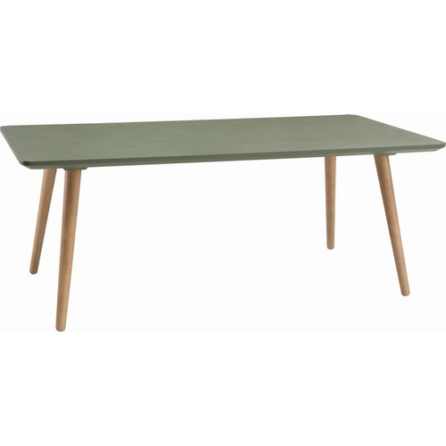CARISON RECTANGULAR  COFFEE TABLE - PICKLE GREEN / NATURAL