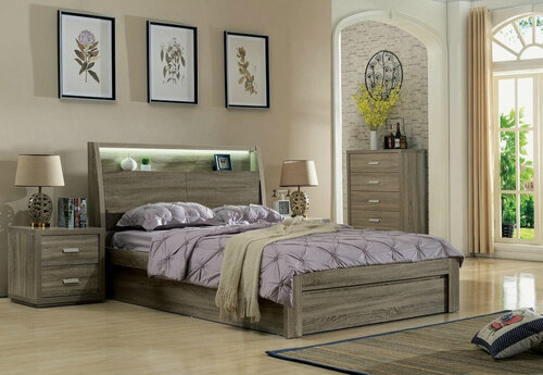 MARCOS DOUBLE OR QUEEN 3 PIECE (BEDSIDE ) BEDROOM SUITE - (2-15-19-20-15-14) - MOCHA