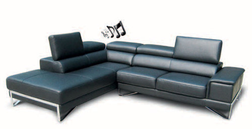 FLORENCE 2.5 SEATER CHAISE WITH STEREO - FULL LEATHER - ASSORTED COLOURS