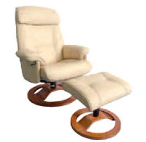 RAVEN (1014-2) RECLINER CHAIR AND STOOL - FULL LEATHER - CHOCOLATE, BLACK OR OFF WHITE