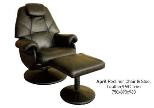 APRIL RECLINER CHAIR AND STOOL - CAPPUCCINO , BLACK , CHOCOLATE , IVORY
