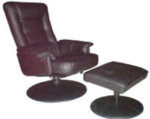 CARLO RECLINER CHAIR AND STOOL - LEATHER/PVC - CHOCOLATE, BLACK OR IVORY