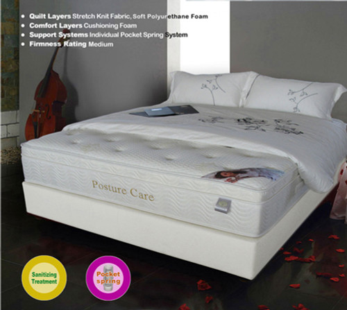 DOUBLE POSTURE CARE POCKET SPRING ENSEMBLE (BASE & MATTRESS) - MEDIUM