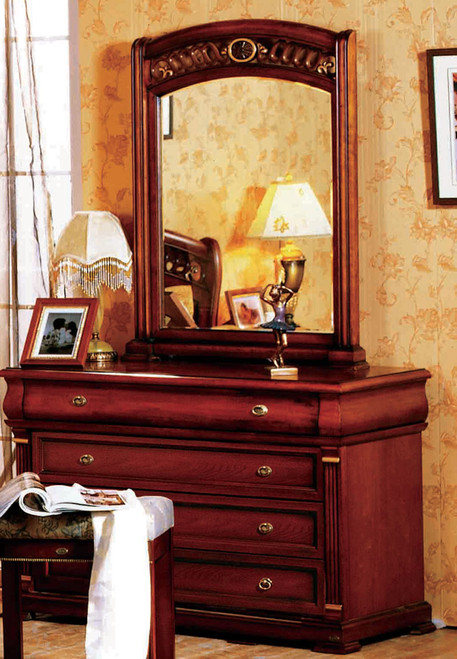 BONAPARTE DRESSING TABLE WITH MIRROR (DRESSING STOOL NOT INCLUDED) - 2000(H) X 1200(W) - AGED WALNUT