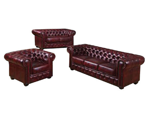 CHESTERFIELD LEATHER LOUNGE 3 SEATER + 2 SEATER + TUB - RED OR BROWN
