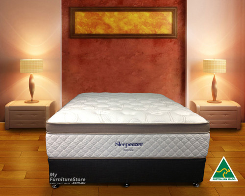 KING SINGLE SAPHIRE POCKET SPRING ENSEMBLE (BASE & MATTRESS) - CHOICE OF BASE COLOURS - PLUSH