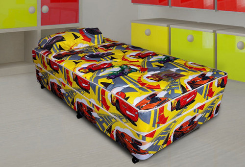 KING SINGLE LIGHTENING McQUEEN YELLOW ENSEMBLE (BASE & MATTRESS) - MEDIUM FIRM