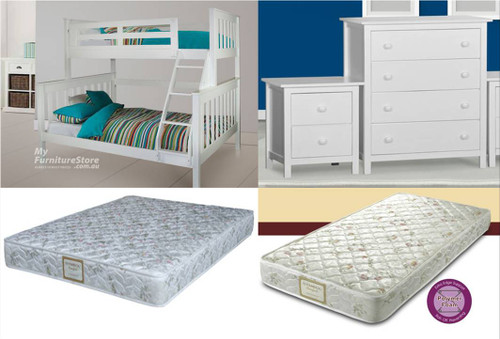 AWESOME TRIO 13 PIECE BUNK BED PACKAGE - ARCTIC WHITE