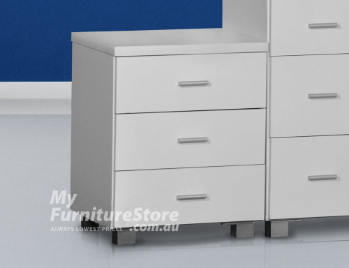 CONCORD LAMINATED 3 DRAWER BEDSIDE - WHITE