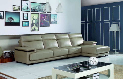 BAROSSA 3 SEATER LEATHER CHAISE LOUNGE - PUTTY OR RED