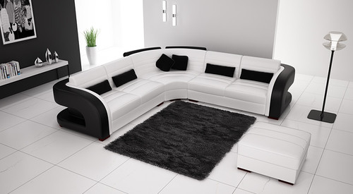 CHARLOTTE-II (G1071B) LEATHER/ETTE COMBINATION CORNER LOUNGE WITH OTTOMAN - ASSORTED COLOURS