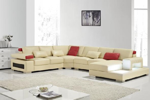 RIVIERA (G1085) LEATHER/ETTE COMBINATION CHAISE LOUNGE SUITE - ASSORTED COLOURS