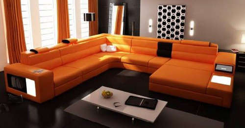 METELLO (G1054) LEATHER/ETTE COMBINATION CORNER LOUNGE SUITE WITH CHAISE AND OTTOMAN - ASSORTED COLOURS