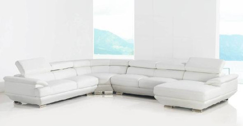 AUSILIA (G1079) 2 SEATER + 2 SEATER LEATHER/ETTE COMBINATION CORNER CHAISE LOUNGE SUITE - ASSORTED COLOURS