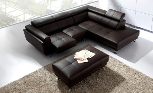 CLAUDETTE (F2001) 2 SEATER LEATHER/ETTE COMBINATION CHAISE LOUNGE - ASSORTED COLOURS