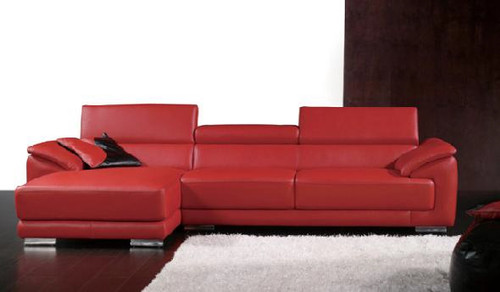 RADCLIFF (F2017) 3 SEATER LEATHER/ETTE COMBINATION CHAISE LOUNGE - ASSORTED COLOURS