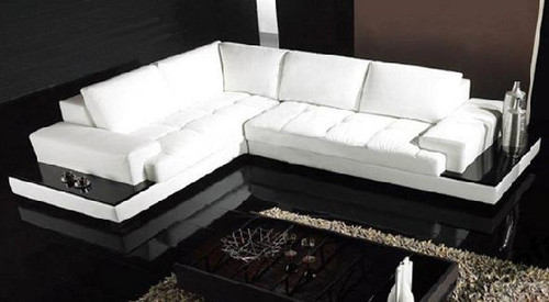 ANTHOINETTE (F2028) 3 SEATER LEATHER/ETTE COMBINATION CHAISE LOUNGE - ASSORTED COLOURS
