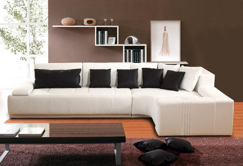 STEINN (F2044) 3 SEATER LEATHER/ETTE COMBINATION CHAISE LOUNGE - ASSORTED COLOURS