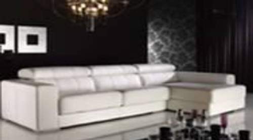 EVERET (F2079) 3 SEATER LEATHER/ETTE COMBINATION CHAISE LOUNGE - ASSORTED COLOURS