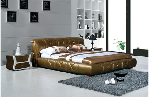 QUEEN CAELAN DEVIN LEATHERETTE BED (A8207) - ASSORTED COLOURS