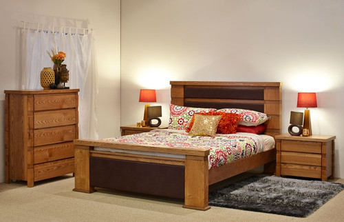 COLORADO QUEEN 3 PIECE BEDSIDE BEDROOM SUITE - NATURAL